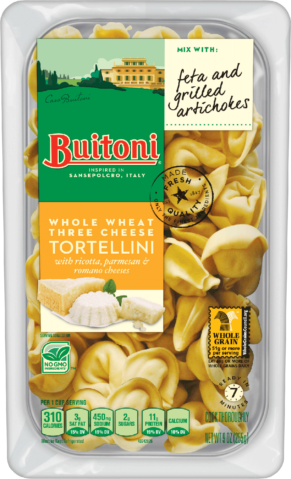 Whole Wheat Three Cheese Tortellini