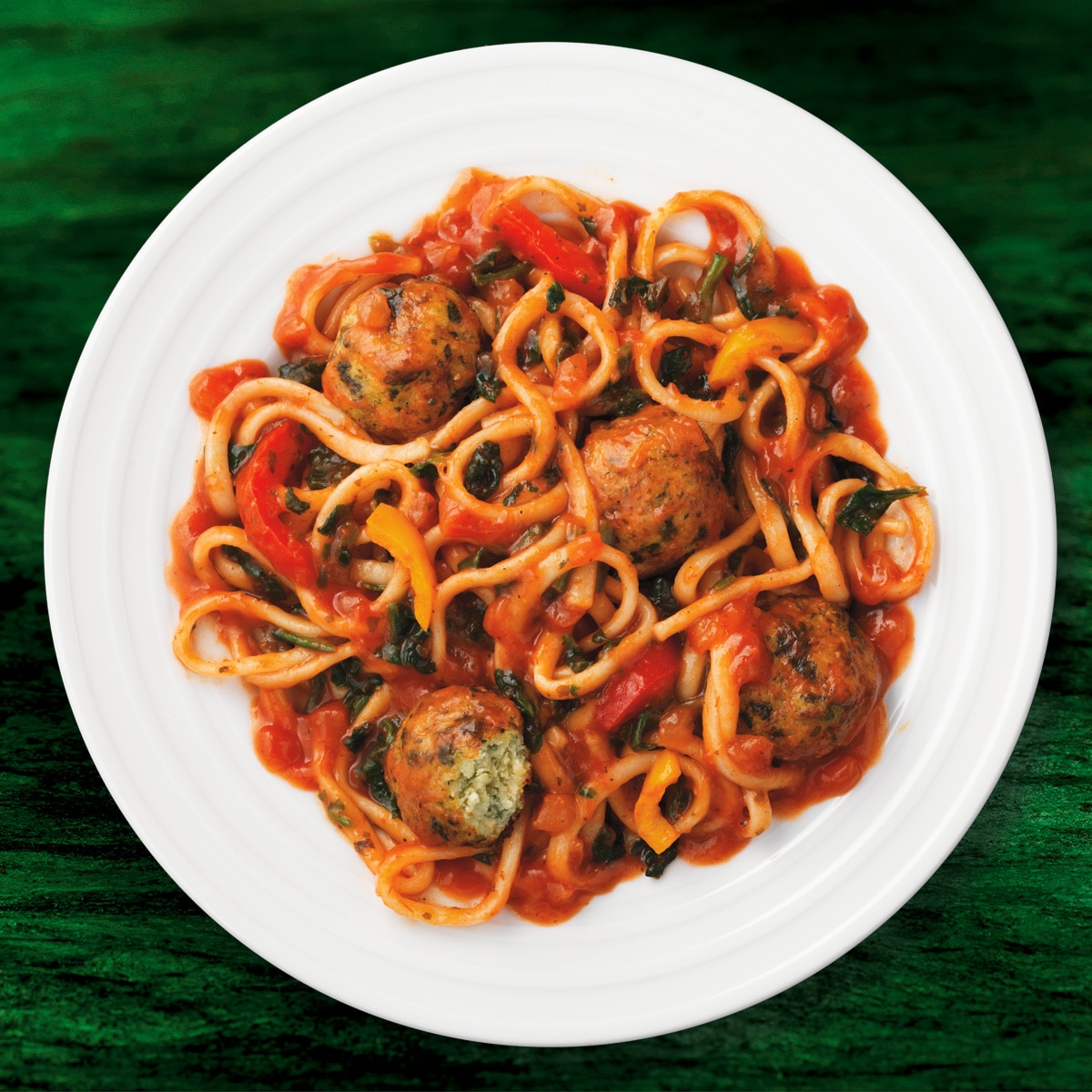 Linguine with Ricotta & Spinach Meatless Meatballs