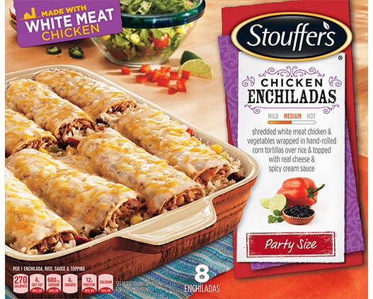 Party Size Chicken Enchiladas with Cheese Sauce & Rice